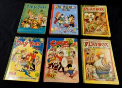 TINY TOTS ANNUAL, 1942, 1943, 1945, 3 vols, 4to, original cloth backed pictorial boards worn +