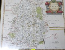 ROBERT MORDEN: SHROP SHIRE, engraved hand coloured map [1695], approx 355 x 420mm, framed and