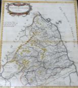 ROBERT MORDEN: NORTHUMBERLAND, engraved hand coloured map [1695], approx 415 x 350mm, framed and