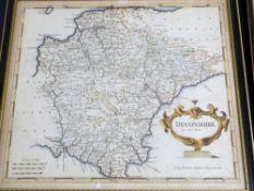 ROBERT MORDEN: DEVONSHIRE, engraved hand coloured map [1695], approx 355 x 410mm, framed and glazed