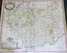 ROBERT MORDEN: 2 engraved hand coloured maps comprising NORTHAMPTONSHIRE [1695], approx 355 x 415mm,