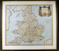 ROBERT MORDEN: ENGLAND, engraved hand coloured map [1695], approx 365 x 425mm, framed and glazed