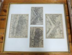LONDON PLANS, 9 engraved plans in 3 glazed frames, late 16th century-early 18th century including