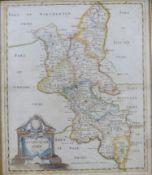 ROBERT MORDEN: BUCKINGHAM SHIRE, engraved hand coloured map, [1695], approx 420 x 345mm, framed