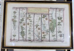 OWEN/BOWEN, 2 hand coloured engraved road maps, 1736, printed recto and verso, comprising THE ROAD