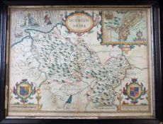 JOHN SPEED: DENBIGHSHIRE, engraved hand coloured map [1611], approx 380 x 510mm, framed and glazed