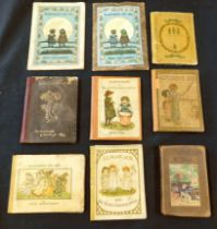 KATE GREENAWAY: ALMANACK, 8 issues, 1883, French edition, 1884, 2 copies, variant bindings, 1885-87,