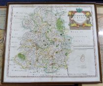 ROBERT MORDEN: SHROPSHIRE, engraved hand coloured map [1695], approx 360 x 420mm, framed and glazed