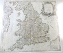 GILLES ROBERT DE VAUGONDY: LE ROYAUM D'ANGLETERRE..., engraved outline coloured map, circa 1753,