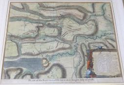 PLAN OF THE BATTLE OF OUDENARD FOUGHT JULY 11TH 1708, engraved hand coloured plan [1751], approx 390