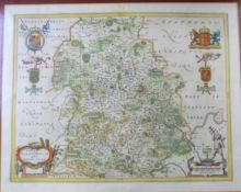 JOAN BLAUE: COMITATUS SALOPIENSIS..., engraved hand coloured map, circa 1645, approx 375 x 490mm,