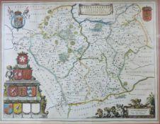 JOAN BLAUE: LEICENTRENSIS COMITATUS, engraved hand coloured map circa 1645, approx 380 x 500mm,