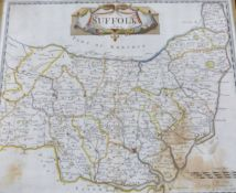 ROBERT MORDEN: SUFFOLK, engraved hand coloured map [1695], approx 360 x 420mm, framed and glazed