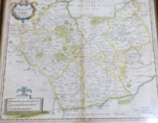 ROBERT MORDEN: 2 engraved hand coloured maps comprising LEICESTER SHIRE [1695], approx 355 x