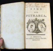 FRANCESCO PETRARCA: LE RIME DEL PETRARCA, Dresda, Georgio Corrado Walther, 1774, engraved vignette