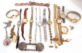 Quantity of modern ladies wrist watches and a small amount of costume jewellery
