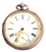Last quarter of 20th century hallmarked silver cased pocket watch, having gold hands to a white