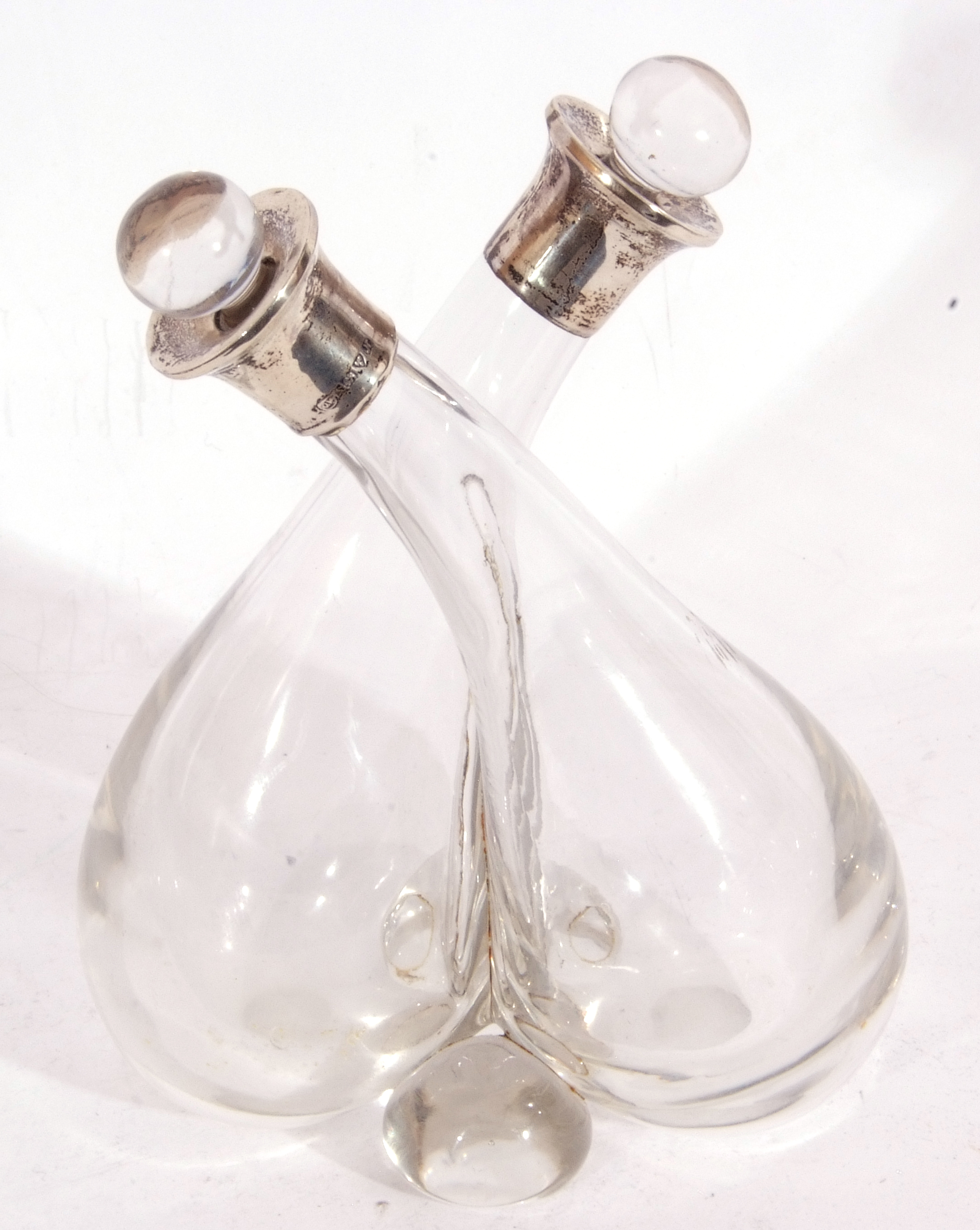 Silver mounted double vinegar and oil bottle, formed as two aubergine shaped glass bottles with - Image 4 of 7