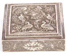 Antique Anglo-Indian white metal box, square formed, intricately hand chased with a combination of
