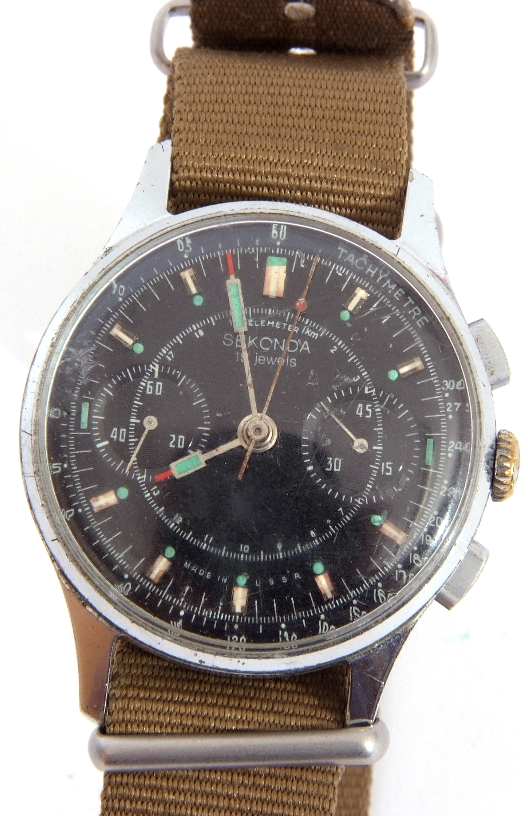 Third quarter of 20th century Sekonda centre seconds wrist chronograph watch case, stainless steel - Image 5 of 6