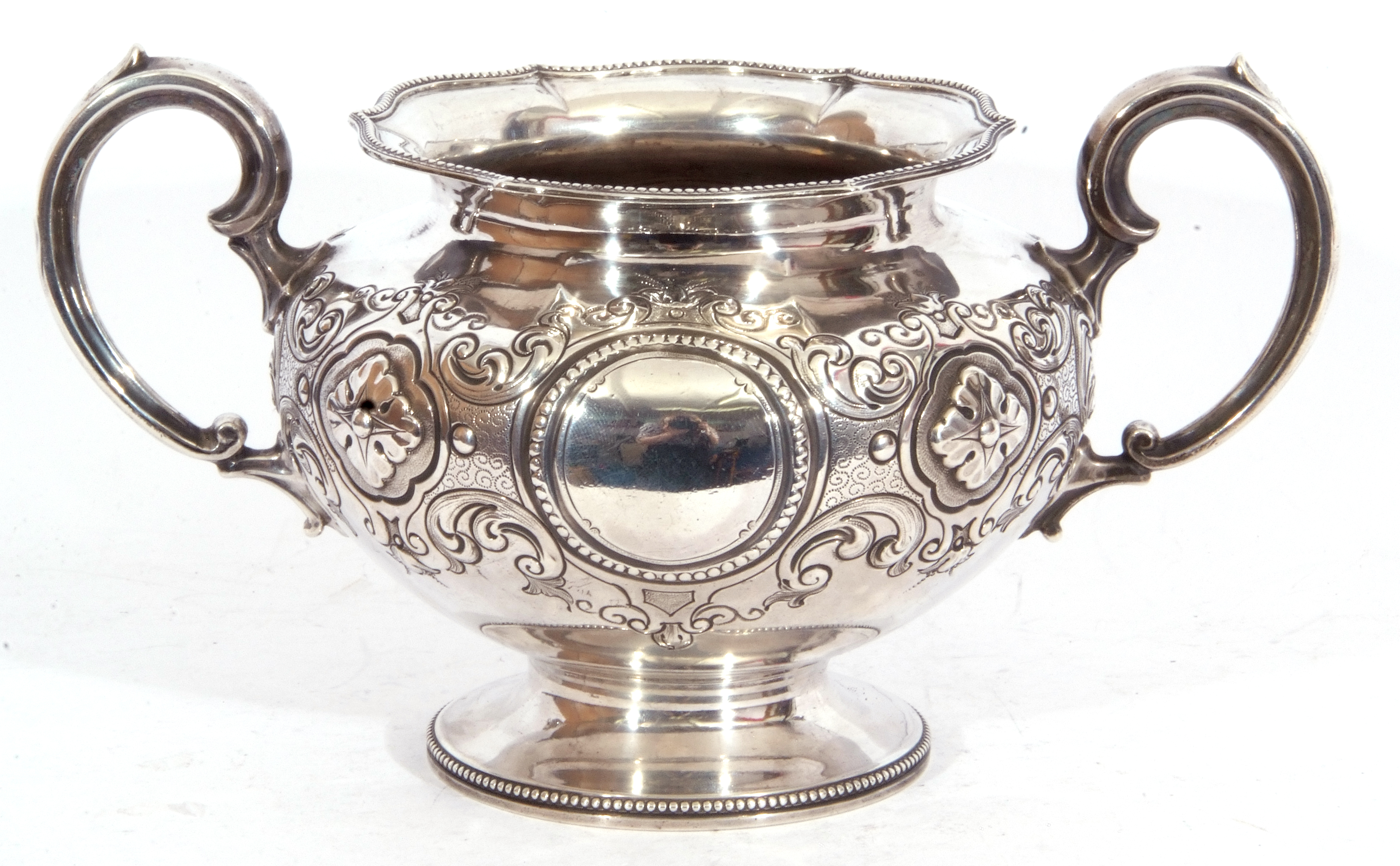 Victorian twin handled sucrier of squat circular form, with two scroll capped handles, beaded - Image 6 of 8