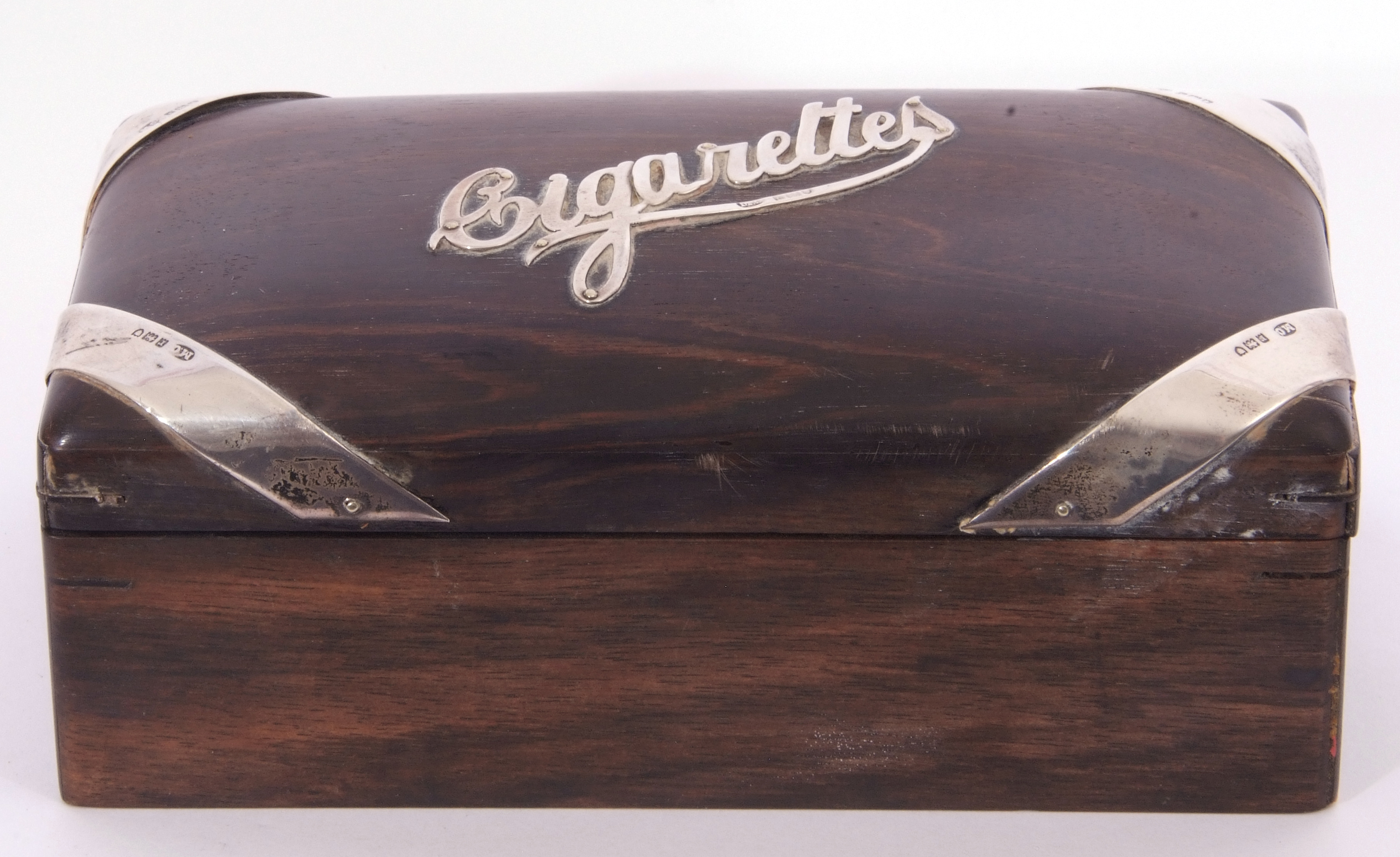 Hardwood and silver mounted table cigarette box of rectangular domed form, the centre applied with - Image 3 of 4