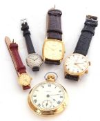 Mixed Lot: gents gold plated cased Smiths pocket watch with button wind, two wrist watches by