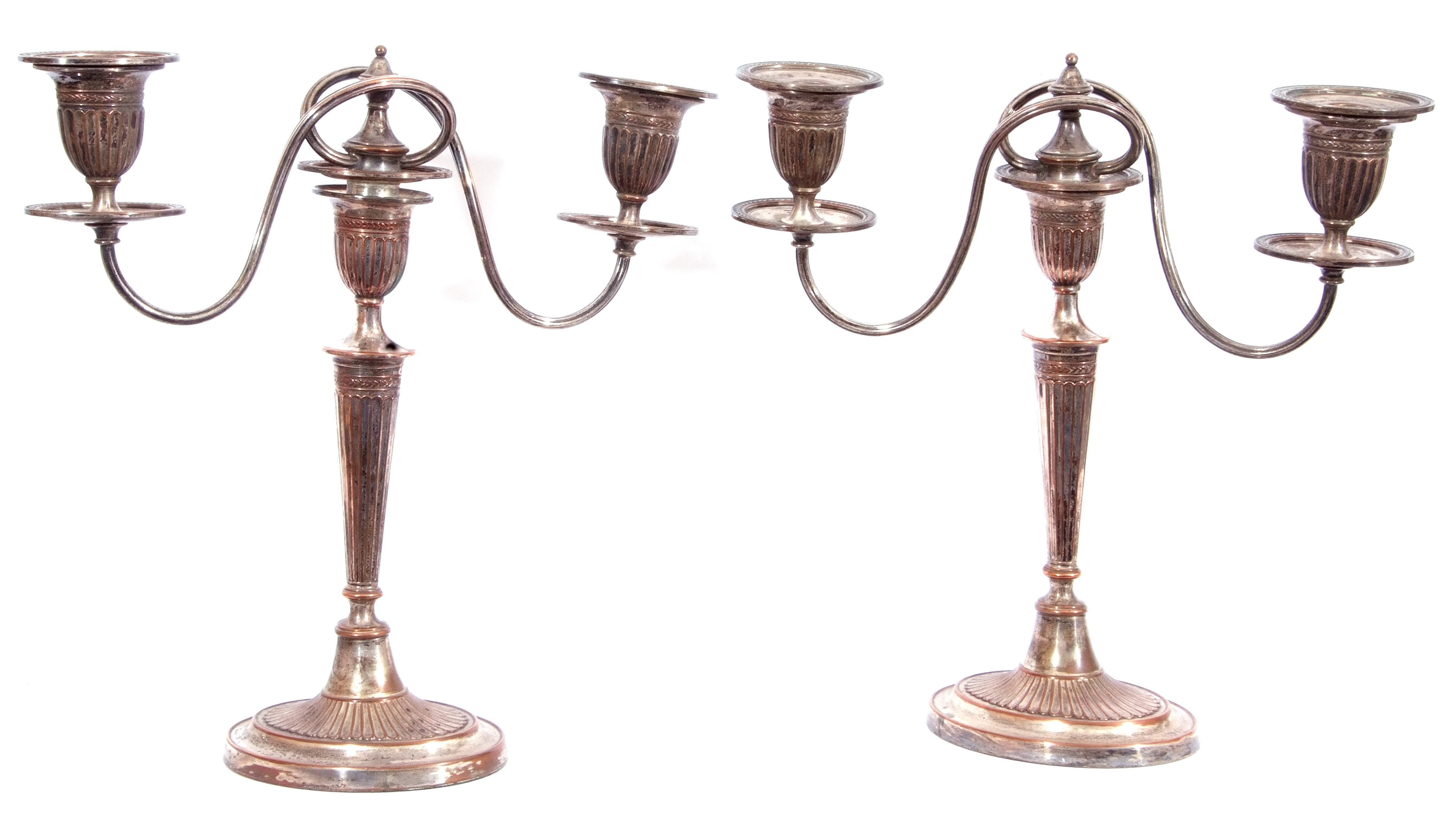 Pair of Old Sheffield Plate George IV Adam style three-light candelabra, 36cm tall (a/f) - Image 3 of 4