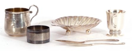 Mixed Lot: Victorian silver shell dish of typical form with engraved monogram, standing on three