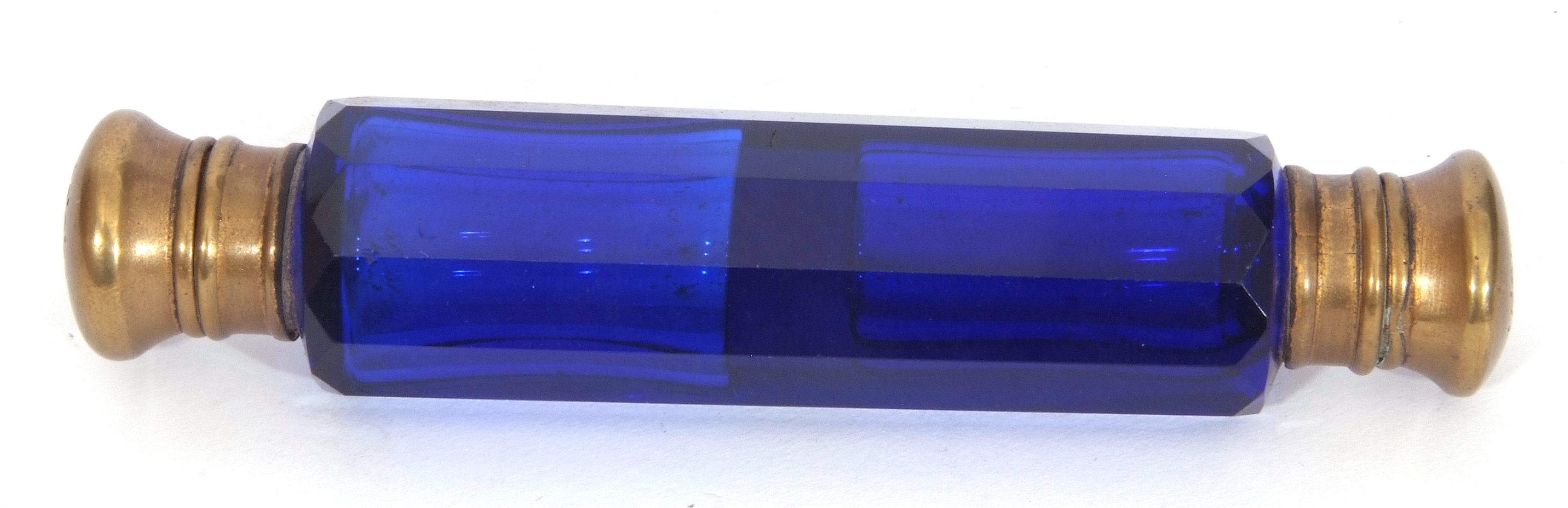 Mixed Lot: antique blue faceted glass double ended scent bottle with gilt metal fittings, 13cm long, - Image 12 of 16