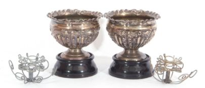 Pair of late Victorian small pedestal jardinieres of compressed circular form, crimped and fluted