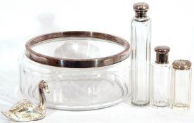 Mixed Lot: glass fruit bowl with hallmarked silver rim, Birmingham 1911, maker John Greensell &