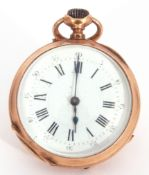 First quarter of 20th century ladies French fob/pocket watch, white enamel dial with Roman