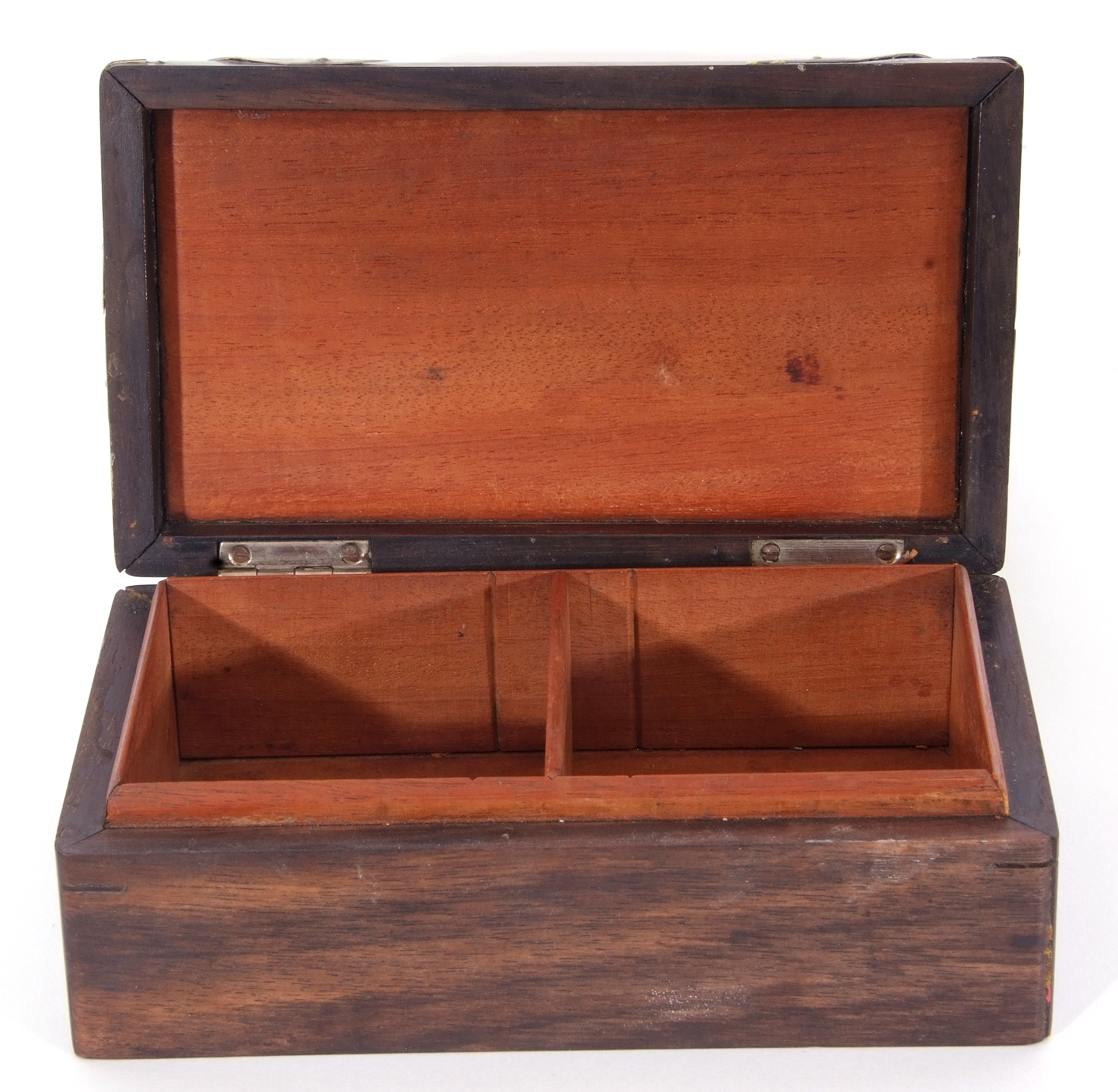 Hardwood and silver mounted table cigarette box of rectangular domed form, the centre applied with - Image 2 of 4
