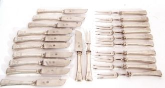 Box of fruit/cheese cutlery to include 11 two pronged forks and 10 knives, each with pierced blades,