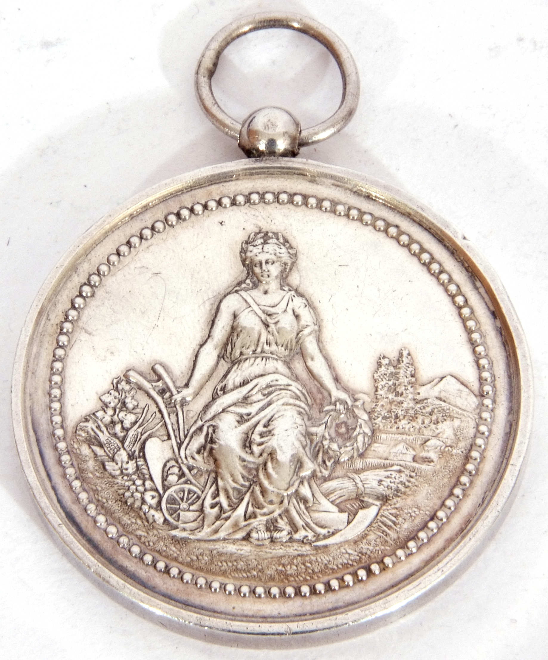 """Hallmarked silver miniature circular dish, """"2000"""" together with a French agricultural medallion - Image 8 of 9"""