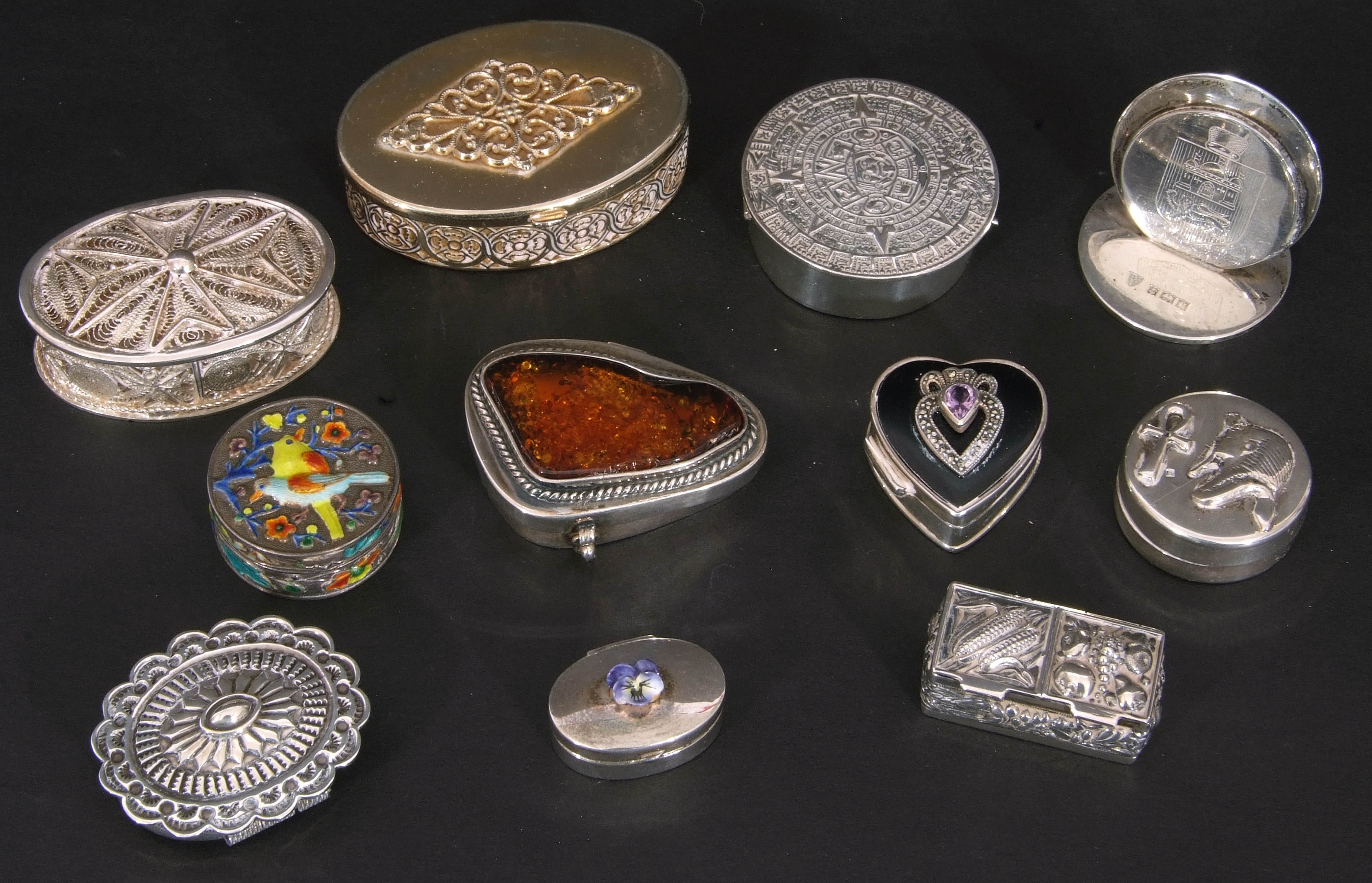 Collection of nine mainly silver/white metal decorative boxes and hallmarked silver menu holder, - Image 4 of 4