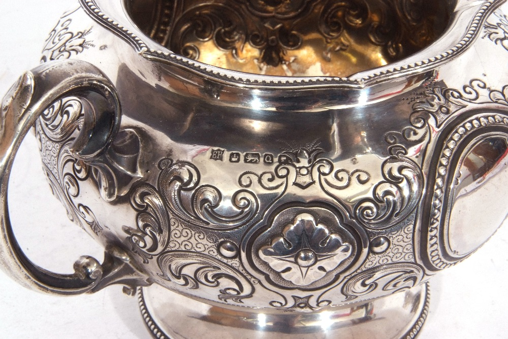 Victorian twin handled sucrier of squat circular form, with two scroll capped handles, beaded - Image 8 of 8