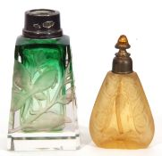 Early 20th century glass perfume bottle of tapering rectangular form, the body intaglio cut with