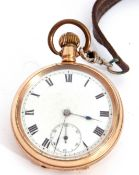 Second quarter of 20th century gold plated open faced lever watch, Lever Dennison pocket watch, 15