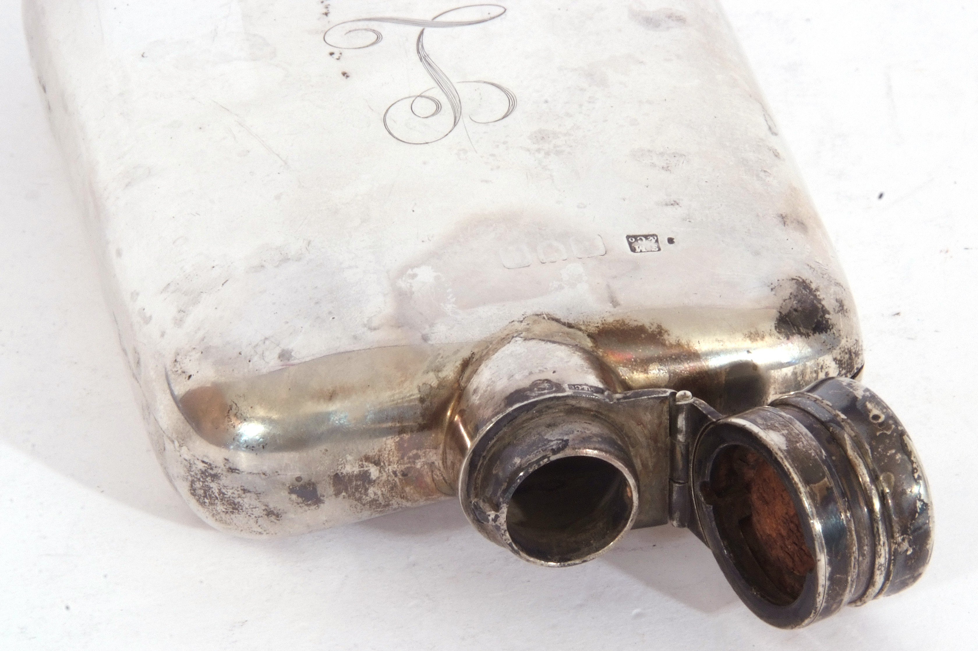 Early 20th century silver hip flask, circa 1920, of rectangular curved form with rounded corners, - Image 4 of 5