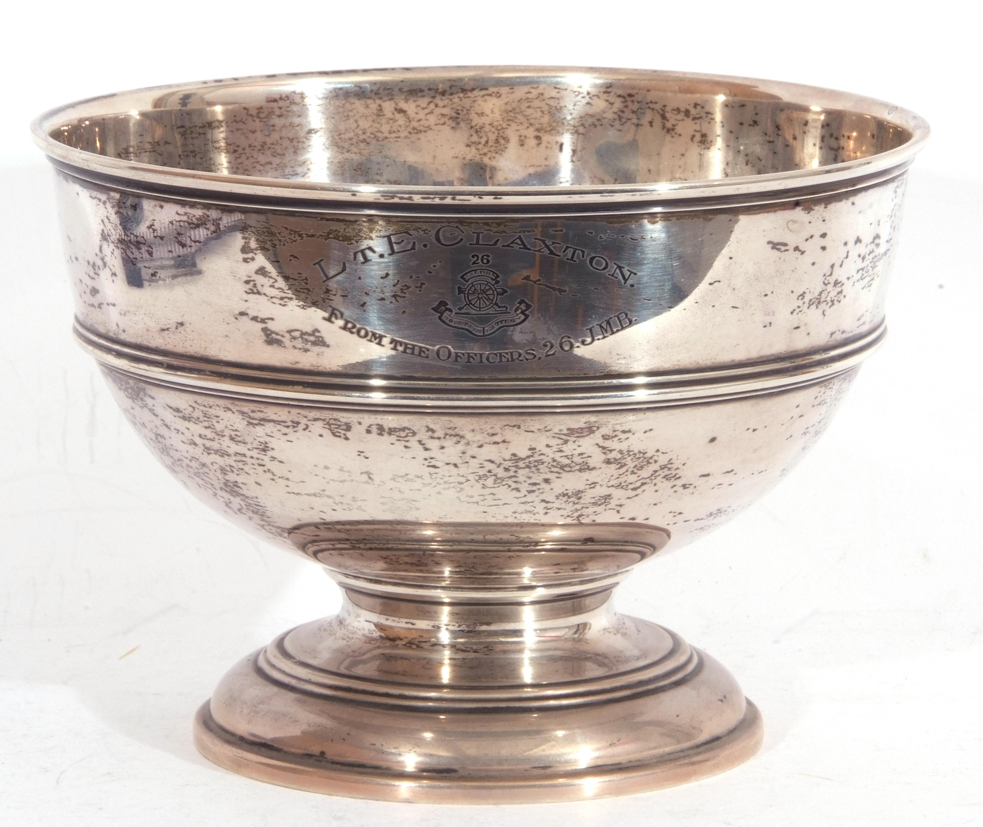 """George V silver pedestal bowl of compressed circular form, reeded borders, presentation engraved, """"L"""