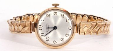 Ladies 9ct gold Rotary wrist watch, the circular silver coloured dial with blued steel hands, Arabic