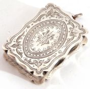 Victorian rectangular shaped vinaigrette, the lid engraved and chased with a central monogram, AH,