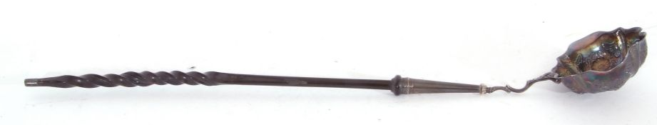 Georgian silver double lipped toddy ladle, the base of the bowl with contemporary presentation