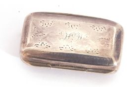 George III silver vinaigrette by T Simpson & Son, of rectangular form, the top chased with