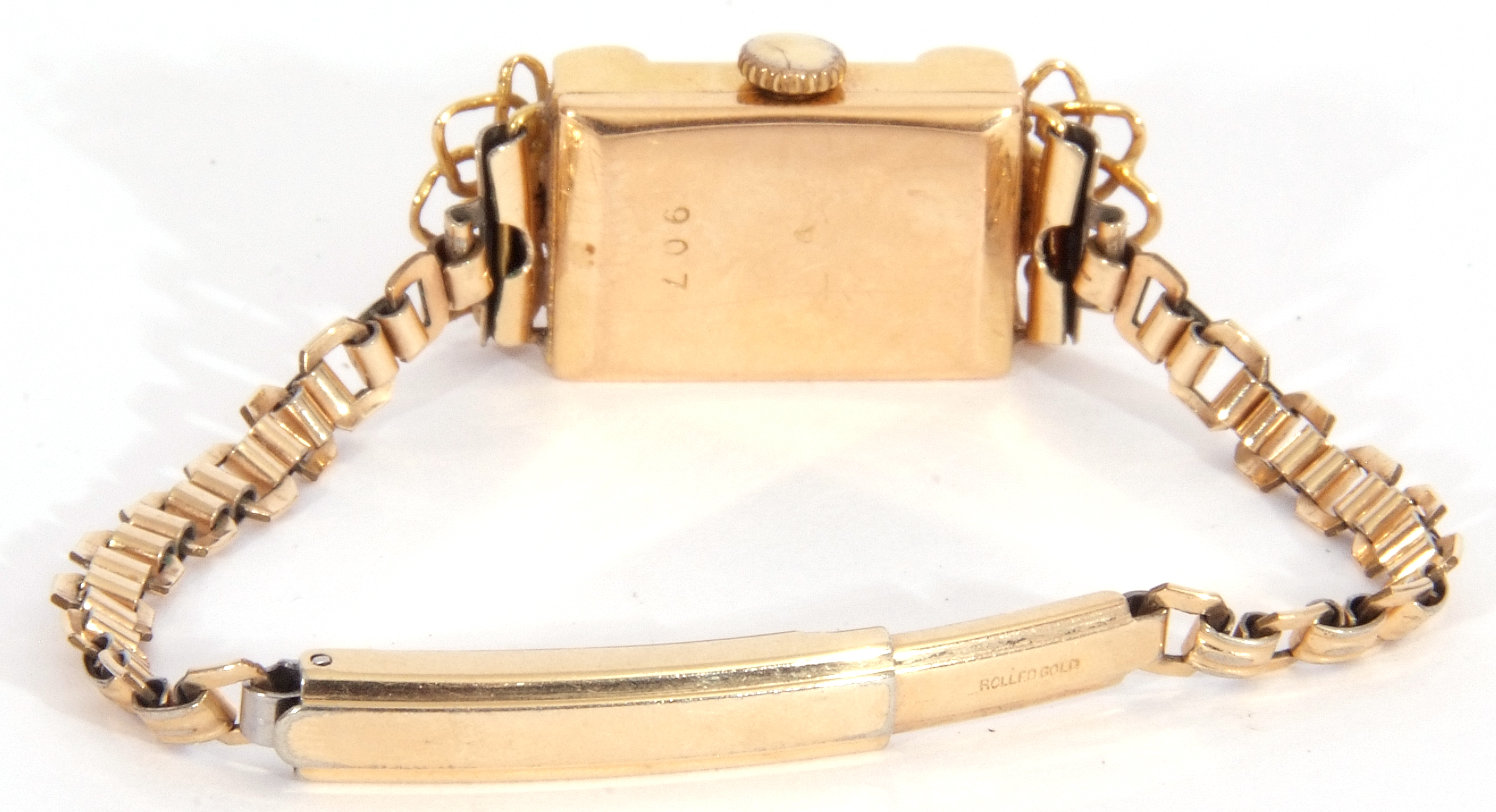Second quarter of 20th century ladies cased French wristwatch, the rectangular shaped case with un- - Image 4 of 6