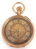First quarter of 20th century ladies 14K stamped wind fob/pocket watch, open face with elaborately
