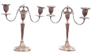 Pair of Old Sheffield Plate George IV Adam style three-light candelabra, 36cm tall (a/f)