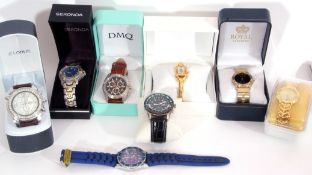Collection of 8 modern wrist watches, 5 gents quartz examples to include an Accurist and an Oskar